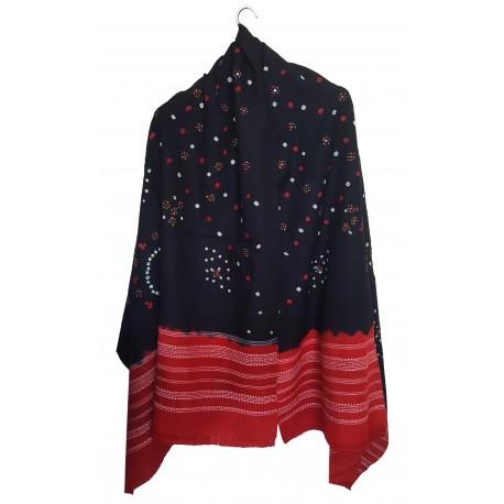 Mehrunnisa Handcrafted Bandhani Tie & Die Woolen Shawl from Gujarat (GAR2479)