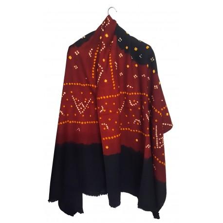Mehrunnisa Handcrafted Bandhani Tie & Die Woolen Shawl from Gujarat (GAR24780)