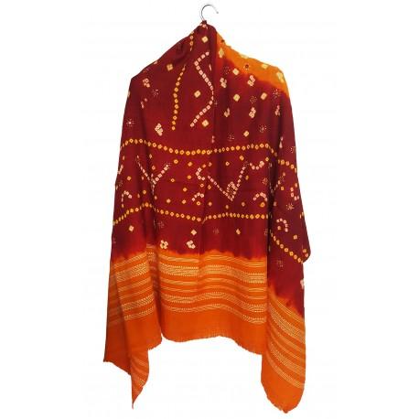 Mehrunnisa Handcrafted Bandhani Tie & Die Woolen Shawl from Gujarat (GAR2481)