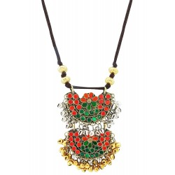 Mehrunnisa Afghani Tribal Necklace With Colored Glass & Ghungroos In Leather Cord (JWL2088)