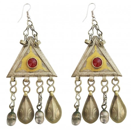 Mehrunnisa Original Afghani Tribal Vintage Long Turkmen Earrings For Girls (JWL2080)