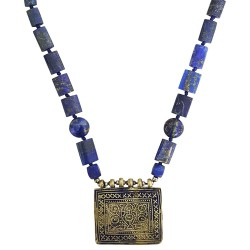 Mehrunnisa Afghani Tribal Original Lapiz Lazuli & Vintage Pendant Necklace For Girls (JWL2064)
