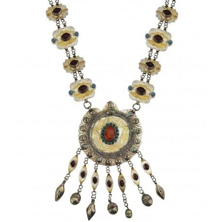Mehrunnisa Afghani Tribal Original Lapiz Lazuli & Vintage Pendant Necklace For Girls (JWL2064)