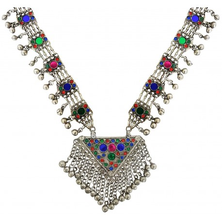 Mehrunnisa Afghani Tribal Long Necklace with Colored Glass & Ghungroos For Women  (JWL2034)