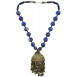 Mehrunnisa Afghani Tribal Real Lapiz Lazuli & Vintage Pendant Necklace For Girls (JWL1972)