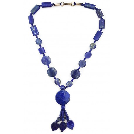 Mehrunnisa Afghani Tribal Real Lapiz Lazuli Pendant Necklace For Girls (JWL1928)