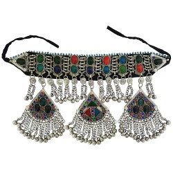 Mehrunnisa Afghani Tribal Heavy Choker Necklace with Colored Glass (JWL2086)