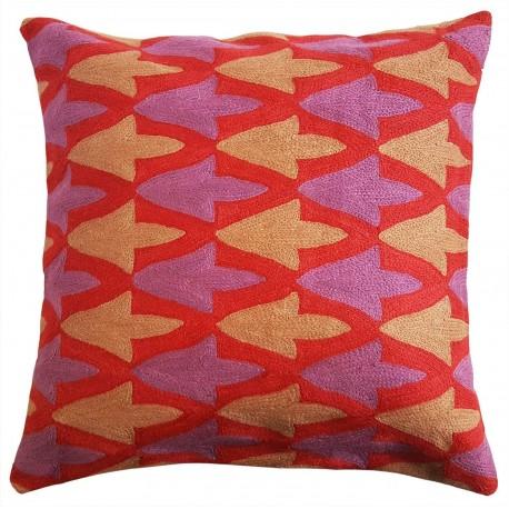 "Mehrunnisa (12""X12"") Kashmir Hand Embroidered Crewel Work Cushion Cover (HOM2501)"