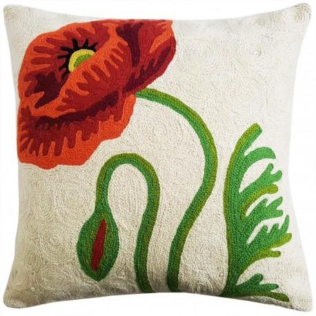 "Mehrunnisa (12""X12"") Kashmir Hand Embroidered Crewel Work Cushion Cover (HOM2503)"