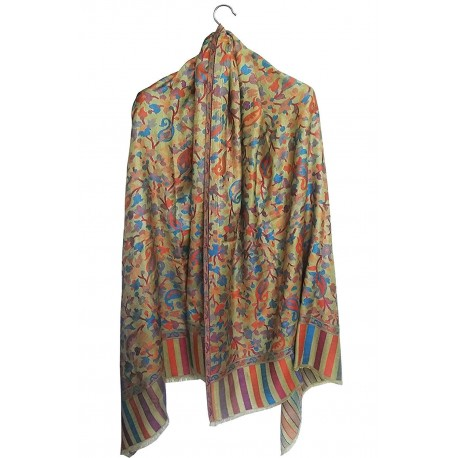 Mehrunnisa Ethnic Kani Silk Wool Shawl Wrap From Kashmir (GAR2168)