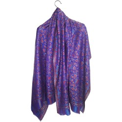 Mehrunnisa Ethnic Kani Silk Wool Shawl Wrap From Kashmir (GAR2169)