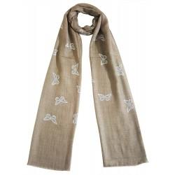 Mehrunnisa Shimmer Butterflies On Fine Wool Stole / Large Scarf – Unisex (GAR2557)