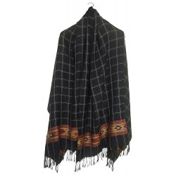 Mehrunnisa Handcrafted Premium Pure Wool Kullu Shawl in Check Design (GAR2566)