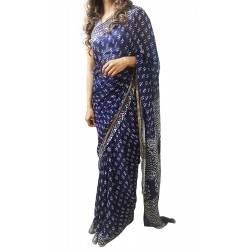 Mehrunnisa BAGRU Chiffon Saree With Blouse Piece From Jaipur (GAR2645, Indigo)