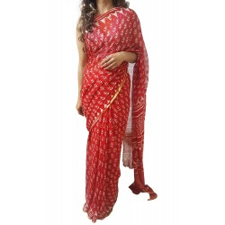 Mehrunnisa BAGRU Chiffon Saree With Blouse Piece From Jaipur (GAR2644, Red)