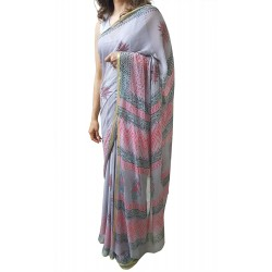 Mehrunnisa BAGRU Chiffon Saree With Blouse Piece From Jaipur (GAR2613, Grey)