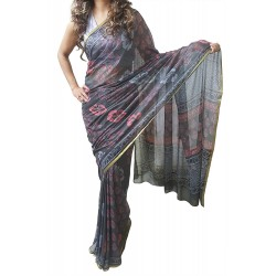 Mehrunnisa BAGRU Chiffon Saree With Blouse Piece From Jaipur (GAR2612, Brown)