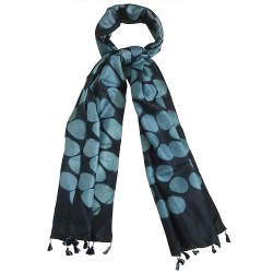 Mehrunnisa Women Clamp Dyed Tussar Silk Stole from Kutch  (GAR2640, Black)