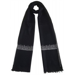 Mehrunnisa Unisex Pure Pashmina Wool Stole Wrap With Hand Embroidery  (GAR2633, Black)
