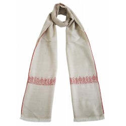 Mehrunnisa Unisex Pure Pashmina Wool Stole Wrap With Hand Embroidery  (GAR2632, Beige)