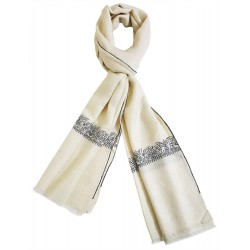 Mehrunnisa Unisex Pure Pashmina Wool Stole Wrap With Hand Embroidery  (GAR2635, Off-White)