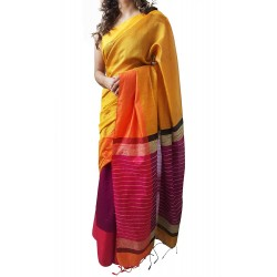 Mehrunnisa Handloom Cotton Silk SAREE With Blouse Piece From West Bengal (GAR2592, Yellow & Magenta)