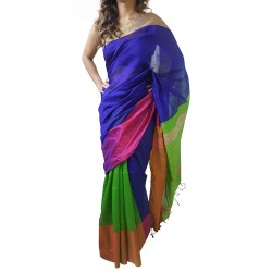 Mehrunnisa Handloom Cotton Silk SAREE With Blouse Piece From West Bengal (GAR2589,Blue & Green )