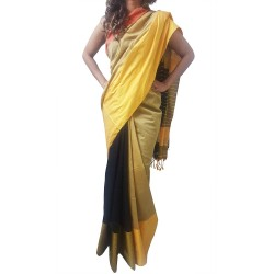Mehrunnisa Handloom Cotton Silk SAREE With Blouse Piece From West Bengal (GAR2588, Golden & Black)