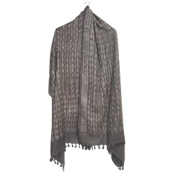 Mehrunnisa Handloom Block Print Pure Merino Wool Shawl – Unisex (GAR2615, Grey)