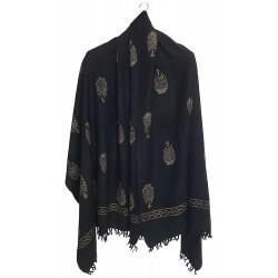 Mehrunnisa Handloom Block Print Pure Merino Wool Shawl – Unisex (GAR2614, Black)