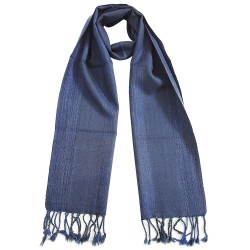 Mehrunnisa Handcrafted Double Ply Premium Pure Wool Muffler - Unisex (GAR2058,	Blue Stripes)