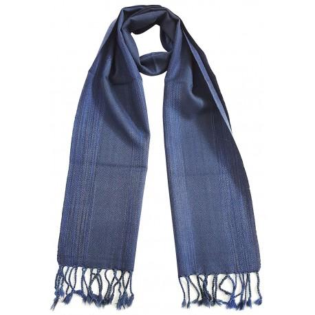 Mehrunnisa Handcrafted Double Ply Premium Pure Wool Muffler - Unisex (GAR2058,Blue Stripes)
