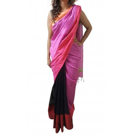 Mehrunnisa Handloom High Quality Cotton Silk SAREE With Blouse Piece From West Bengal (GAR2590,Pink & Black)