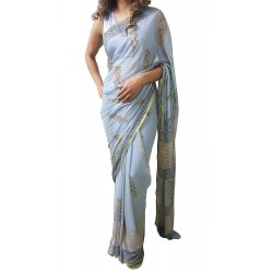 Mehrunnisa BAGRU Chiffon Saree With Blouse Piece From Jaipur (GAR2611, Light Blue)