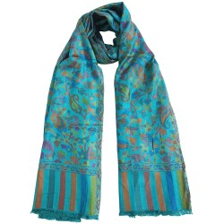 Mehrunnisa Ethnic Kani Silk Wool Stole/Large Scarf Wrap From Kashmir (GAR2069)