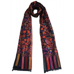 Mehrunnisa Ethnic Kani Silk Wool Stole/Large Scarf Wrap From Kashmir (GAR2071)
