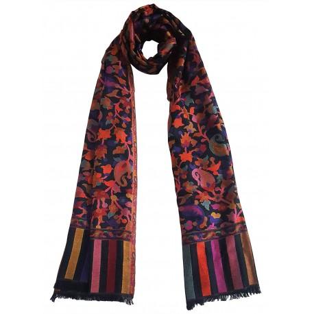 Mehrunnisa Ethnic Kani Silk Wool Stole/Large Scarf Wrap From Kashmir (GAR2071)