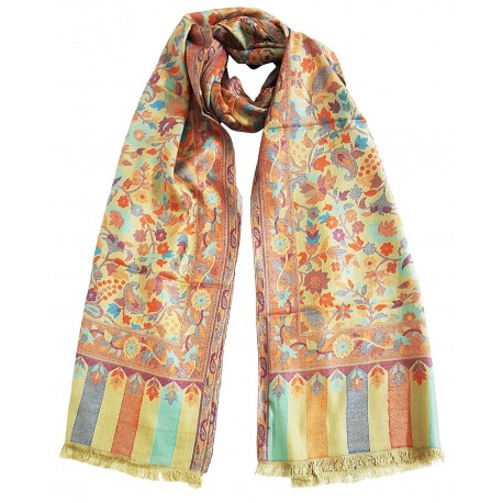 Mehrunnisa Ethnic Kani Silk Wool Stole/Large Scarf Wrap From Kashmir (GAR2073)