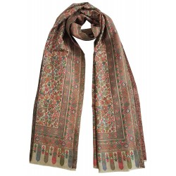 Mehrunnisa Ethnic Kani Pure Wool Stole / Large Scarf Wrap From Kashmir (GAR2117, Beige)