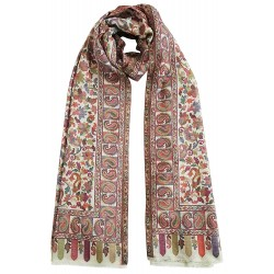 Mehrunnisa Ethnic Kani Pure Wool Stole / Large Scarf Wrap From Kashmir (GAR2119, White)