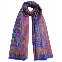 Mehrunnisa Ethnic Kani Pure Wool Stole / Large Scarf Wrap From Kashmir (GAR2122, Royal Blue)