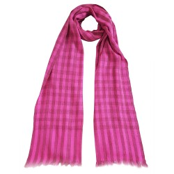 Mehrunnisa Handcrafted Pure Cashmere Pashmina Wool Check Stole Wrap – Unisex (GAR2123, Pink)