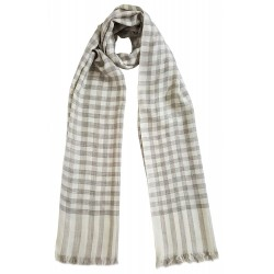 Mehrunnisa Handcrafted Pure Cashmere Pashmina Wool Check Stole Wrap – Unisex (GAR2126 , White)