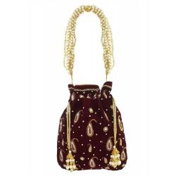 Mehrunnisa Maroon Hand Embroidered Zari & Pearl Velvet Potli Bag (BAG2690)