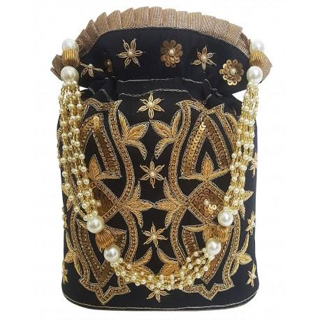 Mehrunnisa Black Hand Embroidered Zari Potli Bag (BAG2689)