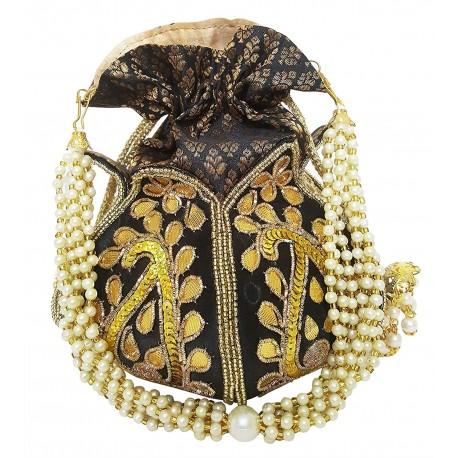 Mehrunnisa Black Lotus Gota Embroidered Potli Bag (BAG2688)