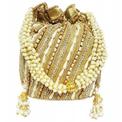 Mehrunnisa Pearls & Crystals Work Golden Potli Bag (BAG2304)