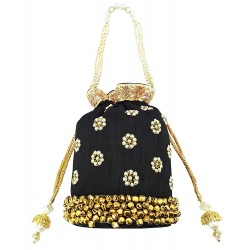 Mehrunnisa Black Floral Pearl Embroidered Ghungroo Potli Bag (BAG1663)