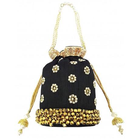 Mehrunnisa Black Floral Pearl Embroidered Ghungroo Potli Bag (BAG1663)