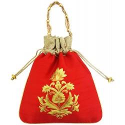 Mehrunnisa Big Floral Embroidered Potli Bag (Red , BAG1664)